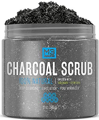 M3 Naturals Activated Charcoal Scrub + Stem Cell & Collagen Infused All Natural Body & Face Skin Care Exfoliating Blackheads Acne Scars Pore Minimizer Reduces Wrinkles Anti Cellulite Treatment 12 OZ