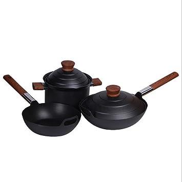 Olla de tres piezas olla de hierro antigua Olla de hierro fundido Pross set olla de sopa frita personalizada,A: Amazon.es: Hogar