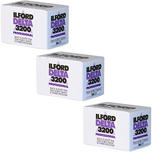 Ilford 1887710 DELTA 3200 Professional, Black and White Print Film, 135 (35 mm), ISO 3200, 36 Exposures (3 Pack)