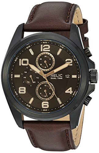 Relic by Fossil Men's Daley Quartz Stainless Steel and Leather Casual Watch, Color: Black, Brown (Model: ZR15946)