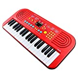 Piano for Kids,Sanmersen 37 Keys Large Multifunction Electronic Organ Musical Keyboard Kids Play Piano Educational Toy for Children Boys Girls Early Learning (Red)