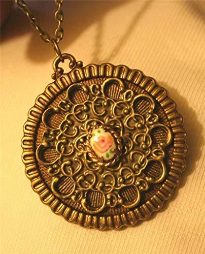 Delightfully Dainty Scalloped Rim Swirled Inset Cloisonne Rose Brasstn Necklace UJ-4455 (Scalloped Cloisonne)