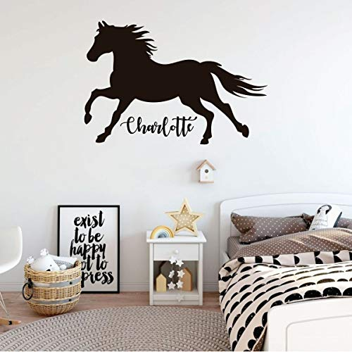Horse Wall Decal | Personalized Vinyl Decor for Girl's Bedroom, Cabin, Ranch, Equestrian Center Decoration | Custom Name, Color, Size | Black, White, Gold, Pink, Purple, Blue, 25 Colors | Small, Large