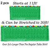 Hawaiian Table Skirt 11ft Long Stretches to 30ft!   (29'' Tall) Green Hibiscus Luau Party Decoration   Tropical Theme Decor (2 Table Skirts)