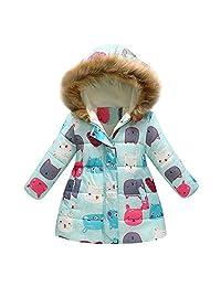 LIKESIDE Baby Girls Boys Winter Cartoon Print Warm Jacket Hooded Windproof Coat