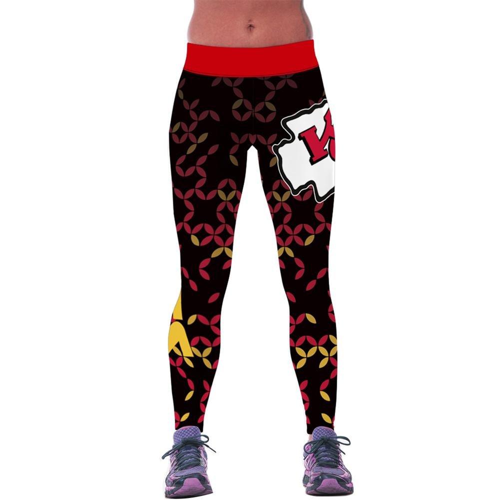 4PING Women's Football Chiefs Digital Printing Sports Pants Elasticity Tight Fitness Pants Leggings OS