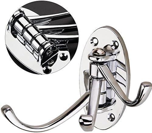OUNONA Swivel Coat Hook Folding Solid Metal Heavy Duty Swing Arm Triple Hook Wall Mounted Hanger for Bathroom Kitchen Bedroom - Style B(Silver)