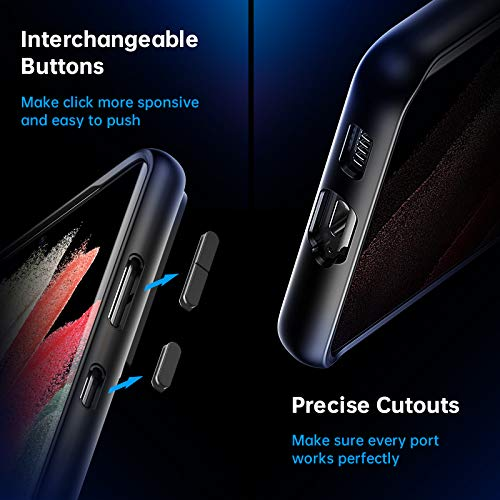 Facbiny Compatible with Samsung Galaxy S21 Ultra Case, [Military Grade Drop Protection][Intoxicating Touch] Translucent Shockproof Matte Phone Case with Soft Edges, Black