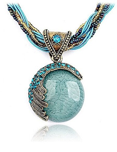[Lnkry Fashion Bohemian Style Cat's Eye Crystal Collar Necklace Pendant(Blue)] (Mustard Seed Fairy Costume)
