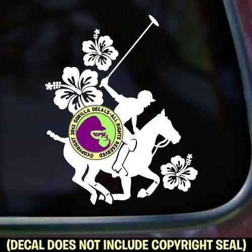 Hibiscus Polo Player Vinyl Decal Sticker B