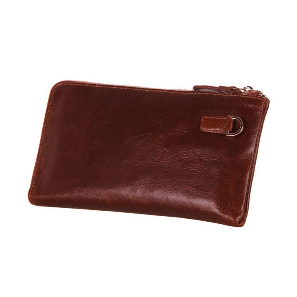 Men's Leather Business Clutch, Multi-Function Waterproof Wallet Multi-Card Position Card Package (Brown)
