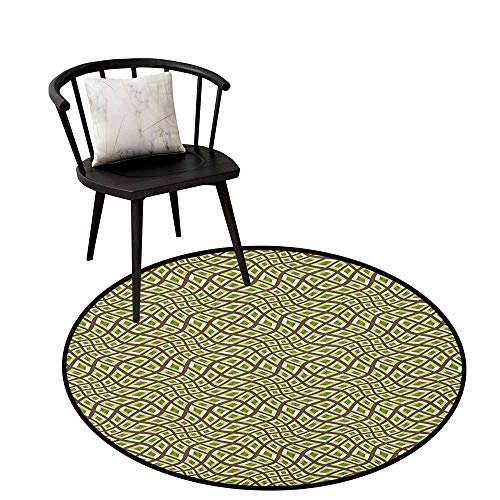Indoor Elegant Circle Area Rug Abstract,Lines and Squares Design Pale Colors Ornate Surrealism Inspired, Chocolate Yellow Green Olive,Office Soft Carpet Floor Mat 24