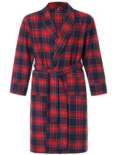 Latuza Men's Cotton Flannel Robe M Red (Flannel Robe)