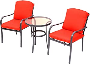 3 Pieces Outdoor Furniture,Patio Table and Chairs, Dinning Table and chais, Patio Conversation Set, Porch Patio Set, Furniture Patio All-Weather Outdoor Patio Furniture (Orange Red)