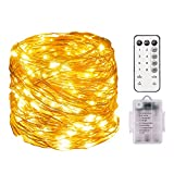 200 LED String Lights Battery Powered 66ft Dimmable Waterproof Fairy Lights Battery Operated for Outdoor Indoor Remote Control Warm White Copper Wire Decorative Christmas Rope Lighting for Patio Garde