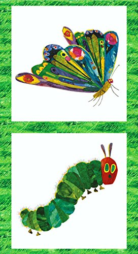 VERY HUNGRY CATERPILLAR Quilting Kids Fabric Panel by Makower -MAK138 - 100% -