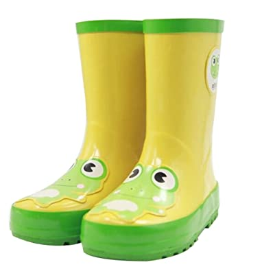 81b67439fec Amazon.com | Cute Starry Kids' Rain Boots Yellow Frog Children Rainy ...