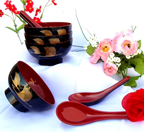1 Set: 4 Pieces Golden Crane Lacquer Rice Miso Soup Bowl Bowls (Crane Bowl)
