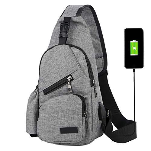 ChangYou Sling Bag Chest Backpack with USB Charging Port Polyester Shoulder Bag for Outdoor Sports Travel Color Grey