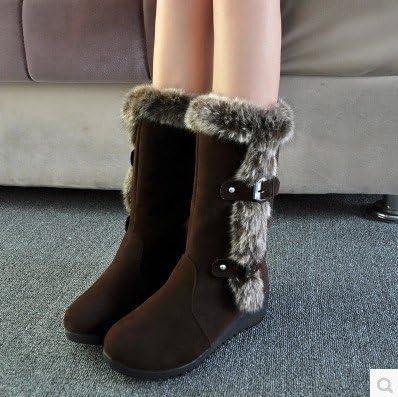 ZHNA Autumn Winter Casual Shoes Princess Sweet Women Boot Stylish Flat Flock Shoes Fashion Mid-calf Boots Snow Boots Black US10-UK7.5-265mm