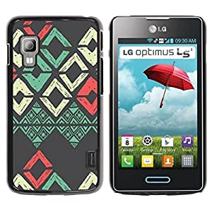LASTONE PHONE CASE / Carcasa Funda Prima Delgada SLIM Casa Carcasa Funda Case Bandera Cover Armor Shell para LG Optimus L5 II Dual E455 E460 / Cool Teal Red Grey Art Pattern