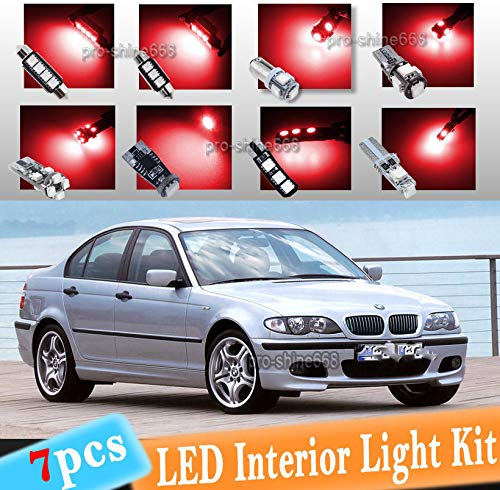(FidgetGear 7-pc Xenon Red Canbus LED Interior Light Bulbs Package Kit For 1999-2005 BMW E46 )
