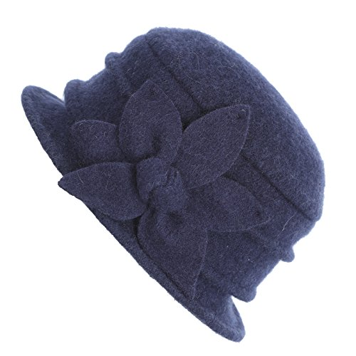 Dantiya Womens Winter Warm Wool Cloche Bucket Hat Slouch Wrinkled Beanie Cap with Flower (Flower-Navy)