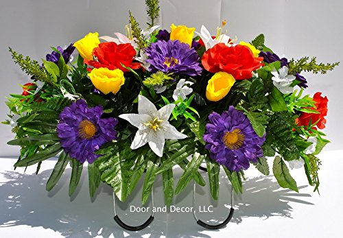 Cemetery-Spring-flowersSpring-Peony-lily-yellow-rose-mixheadstone-saddlecemetery-arrangementgrave-decorgrave-decorationsflowers-for-gravescemetery-saddle