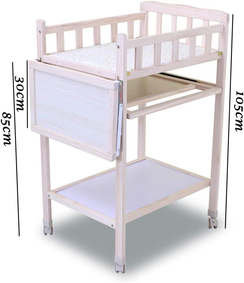 Table /à Langer pour B/éB/é Changement De Poste De Table Table /à Langer en Bois avec roulettes Station De Baignoire De Massage pour B/éB/é avec Rangement