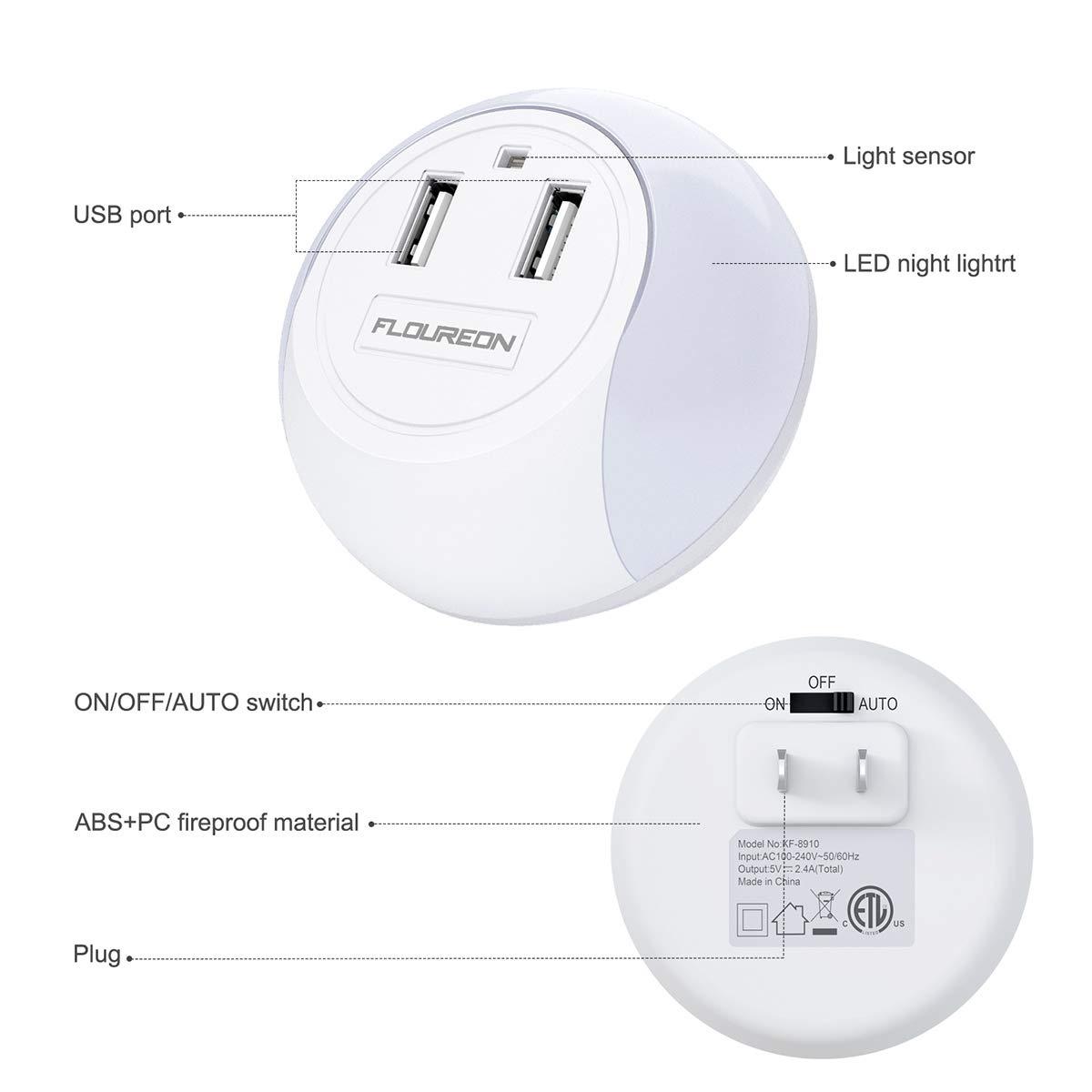 Floureon KF-8910 Led Night Light USB Charger Dusk to Dawn Sensor Dual USB Wall Plate Phone Charger (2 Pack)