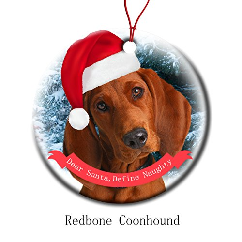 Xmas Ornaments Ceramic Flat Round Snowflakes Santa Dog Redbone Coonhound Custom Tree Branch Hanging Decoration for Holiday Season