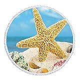 ASTIHN Beach Holiday Starfish Beach Towel Tablecloth Meditation Round Yoga Mat Scarf Shawl Screen Printed Design 60 inch round