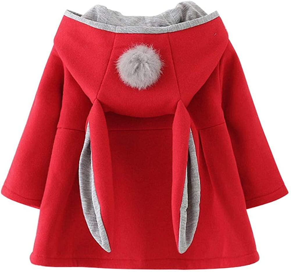 chinatera Baby Girls Winter Jacket Toddlers Bunny Coat Rabbit Ears Outerwear Hoodies Fall