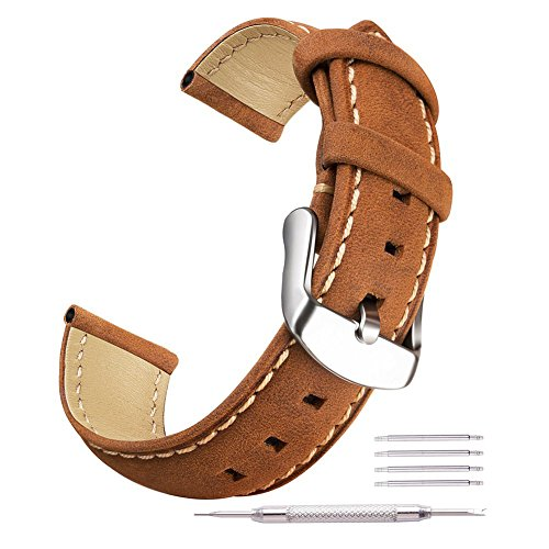 Ritche Brown Watch Bands 18mm Replacement Leather Straps For Timex