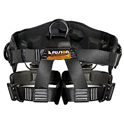 Fusion Climb Spartacus Heavy Duty Half Body Rigging Harness Black Size L (Loop Lock Blue Padded Seat)