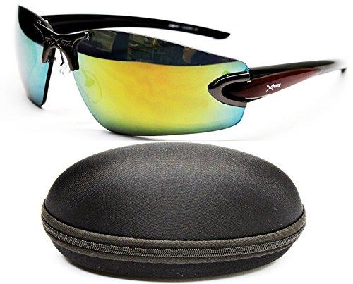 X503-cc Xsportz Brand Sports Metal Wrap Sunglasses (503 Gunmetal-Greenish Gold Mirror, - Surfer Brands Sunglasses