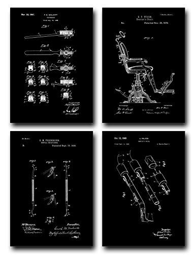 Dental Patent Print Set of Four Art Posters - Black Matte