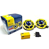HELLA H31000001 Sharptone 12V High Tone/Low Tone Twin Horn Kit with Yellow Protective Grill, Includes Relay, 2 Horns