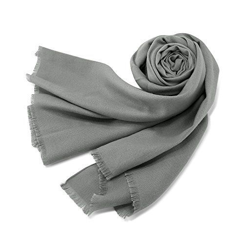 (Oct17 Women Large Scarf Soft Cashmere Feel Pashmina warm Shawls Wraps Winter Fall Scarfs Solid Color Light Weight Scarves with Tassel - Gray )