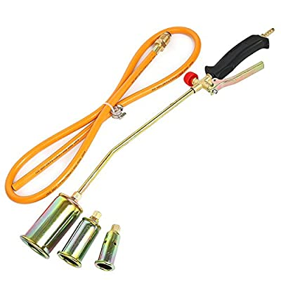 YaeTek Portable Propane Weed Torch Burner Fire Starter Ice Melter Melting with 3 Nozzles and Hose Turbo Blast Trigger