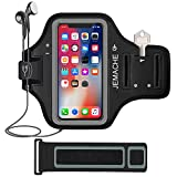 iPhone XS Max Armband, JEMACHE Water Resistant Gym Run Workout Arm Holder Band for iPhone XS Max Fits OtterBox Defender, Lifeproof Case (Black)