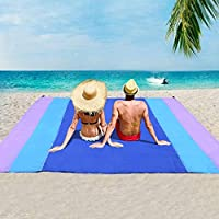 Beach Blanket Sandfree and Waterproof, Extra Large Oversized 10'X9' Outdoor Family Beach Mat for 7 Adults, Soft Quick…