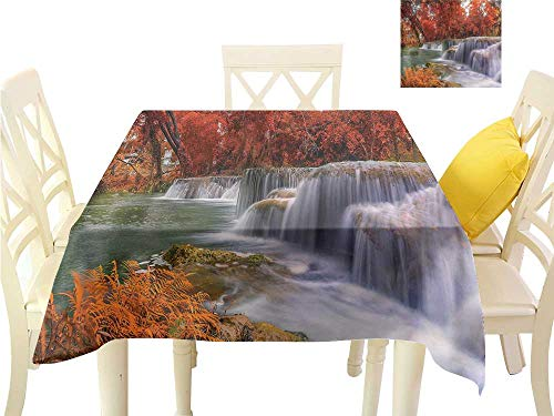 Cobblestone Cascade - Davishouse Fabric Dust-Proof Table Cover Fall Season Cascade Indoor Outdoor Camping Picnic W70 x L70