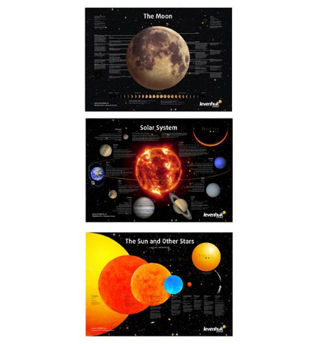 Levenhuk Space Posters Set (3 posters: Moon, Solar System, Sun and Other Stars) by Levenhuk