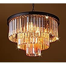 "Saint Mossi® Amber Crystal Bar Lantern-shaped Chandelier Modern & Contemporary Ceiling Pendant Light 8* E12 Bulbs Required H18"" X D20"""