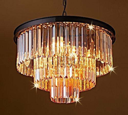 Saint Mossi Modern Amber Crystal Bar Lantern-shaped Raindrop Chandelier Lighting Flush mount LED Ceiling Light Fixture Pendant Lamp for Dining Room Bedroom Livingroom 8 E12 Bulbs Required H18 D20