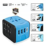 Travel Adapter, Universal International Travel Power Adapter With High Speed 2.4A x 3 USB Port And 3A Type-C Wall Charger, Worldwide ACTravel Adapter Plug for US, EU, UK, AU 150+ Countries