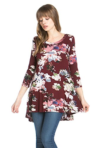 Frumos Womens Tunic Tops For Leggings Round Neck Top Wine Flower 2X-Large