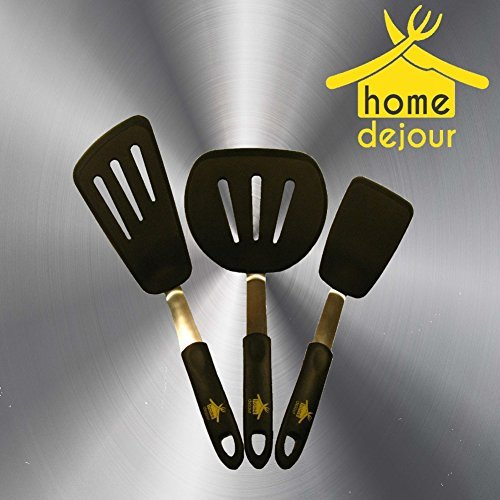 Silicone Flexible Turner Set- Spatula Set Heat Resistant Silicone and Flexible Stainless Steel for Non Stick Cookware