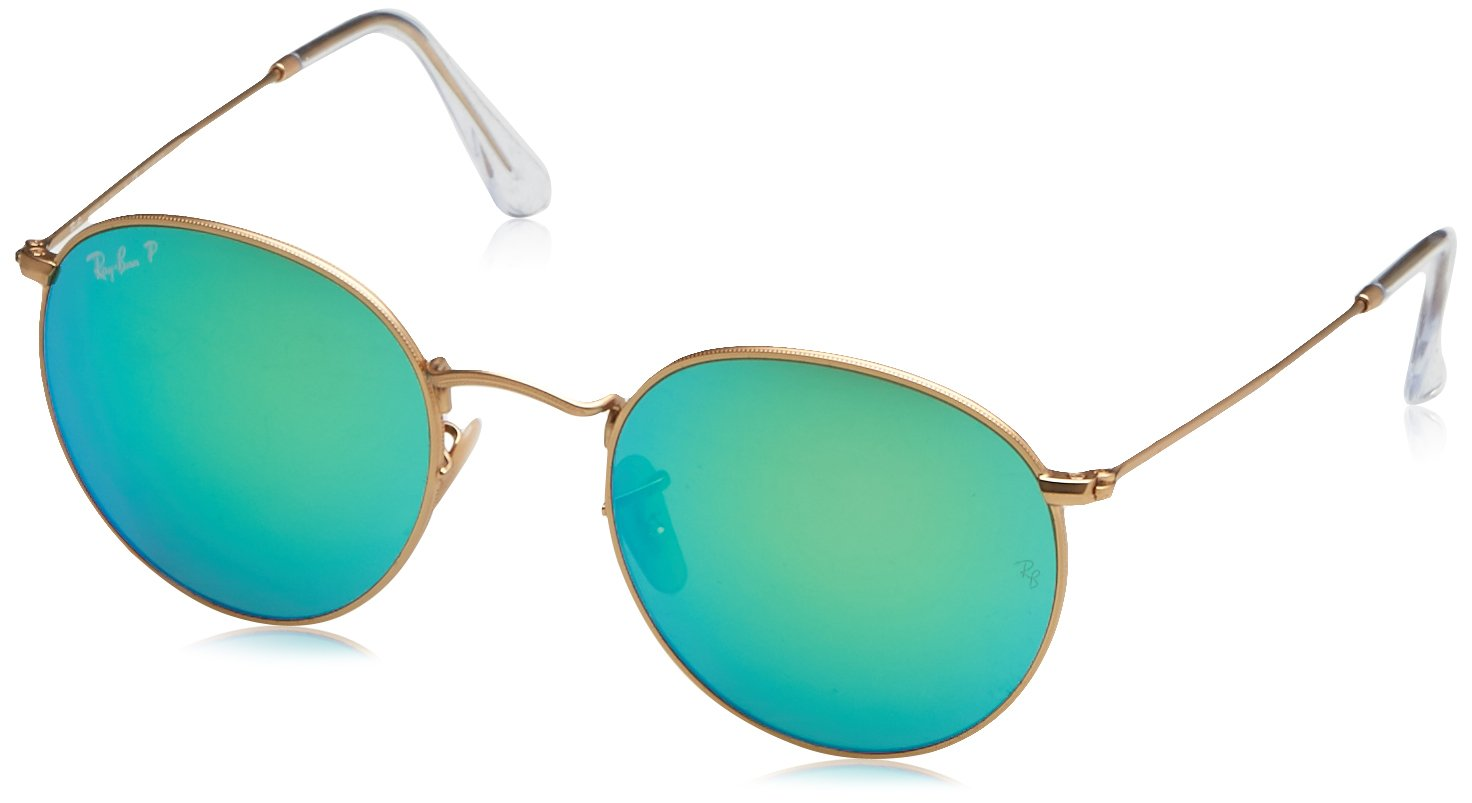 Ray-Ban RB3447 112/P9 Polarized Round Sunglasses, Matte Gold, 53 mm